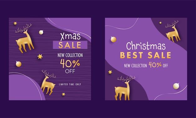 クリスマスセール新しいコレクションの投稿またはテンプレート、40%割引オファー、紫の背景に3dゴールデントナカイ。
