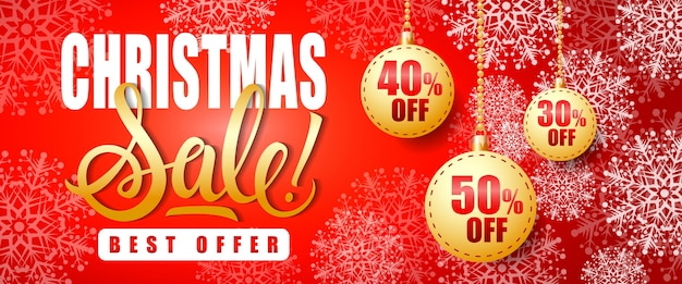 Christmas sale offer lettering and baubles