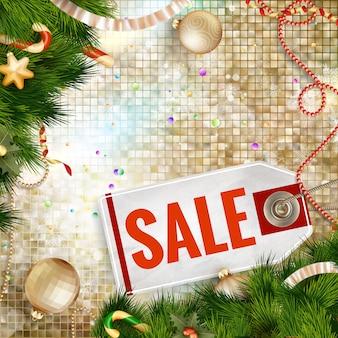 Рождественская распродажа на золотом фоне.