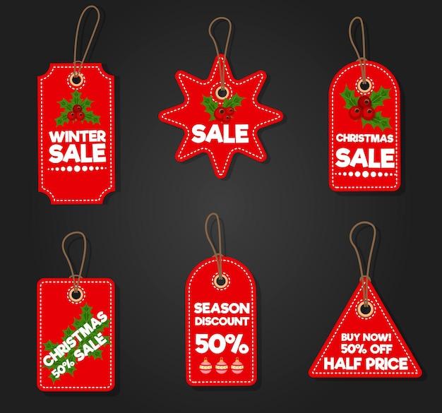 크리스마스 판매 종이 태그 배너 휴일 할인 크리스마스 겨울은 광고 쇼핑 프로모션 벡터 삽화를 제공합니다. 가격 카드 포스터 특별 프로모션 태그입니다. 정리 인사말 가게 스티커.