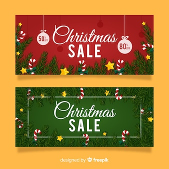Christmas sale pine branches banner