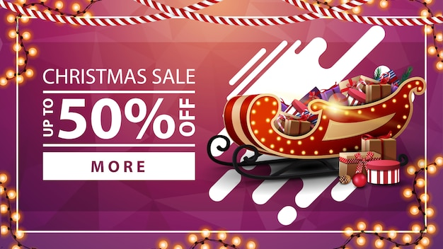 Christmas sale, pink discount banner with garlands, button and santa sleigh