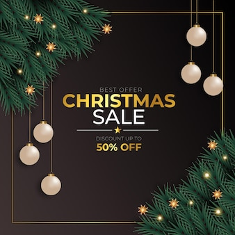 Christmas sale post  with  christmas ball pine branch golden text and star