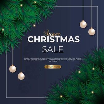 Christmas sale post with green pine branch christmas ball snowflakes and star light