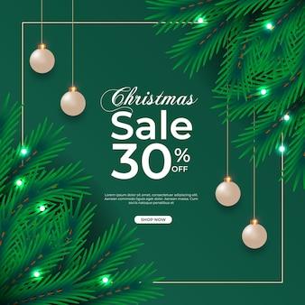 Christmas sale post  with green pine branch christmas ball and star light