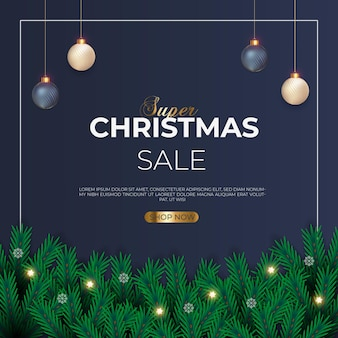 Christmas sale post with green pine branch golden christmas ball snowflakes and star light