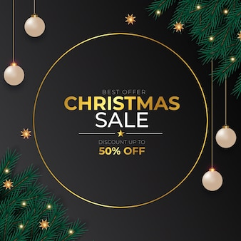 Christmas sale post  with  pine branch christmas ball golden text and star
