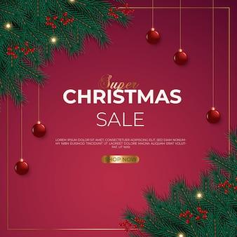 Christmas sale post with pine branch  christmas ball and star light