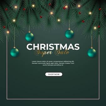 Christmas sale post with pine branch green christmas ball snowflakes and star light