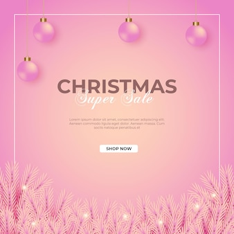 Christmas sale post with pink background pink pine branch  and christmas ball