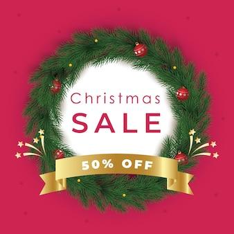 화환이 있는 크리스마스 판매 게시물