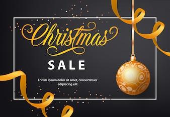 Christmas Sale poster design. Gold bauble, streamer