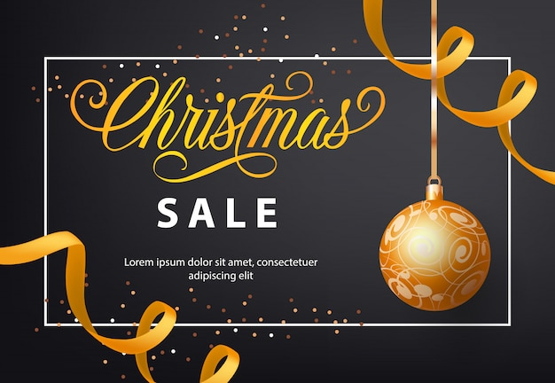 Christmas sale poster design. gold bauble, streamer