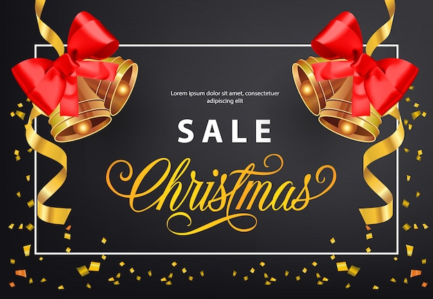 Christmas sale poster design. gold jingles with red bows