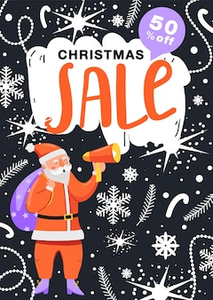 Christmas sale poster funny santa claus character shouting on megaphone