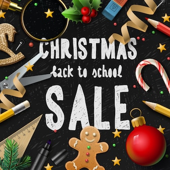 Christmas sale poster, promotional background for schools fairs, illustration