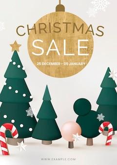 Рождественские продажи плакат шаблон, интернет-магазины вектор