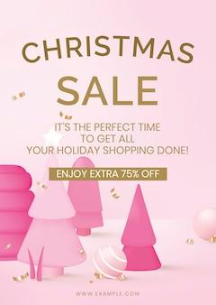 Modello di poster di vendita di natale, vettore di shopping online