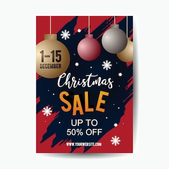 Christmas sale poster template with 3d pop art style