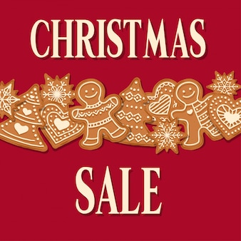Christmas sale poster with gingerbread design