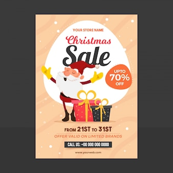 Christmas sale poster with happy santa claus with colorful gift boxes