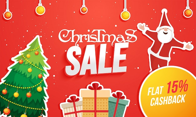 Christmas sale poster with happy santa claus,xmas tree, gift boxes with cashback options.
