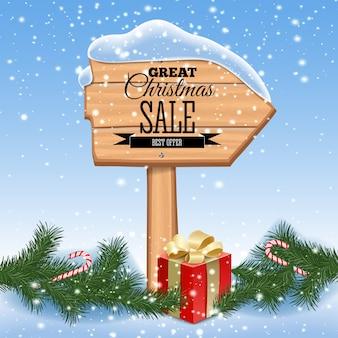 クリスマスセールのポスター。ホリデーフレームと木製の背景。レトロ。図。