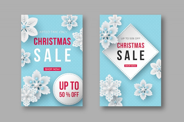 Christmas sale posters with decorative snowflakes