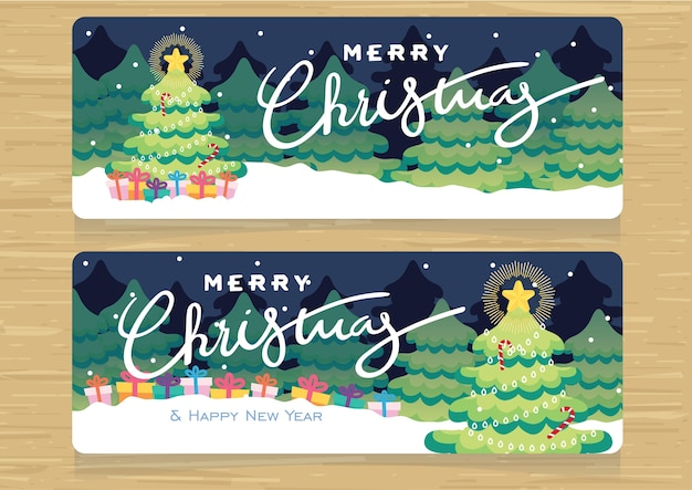 Christmas sale promotion banner set vector