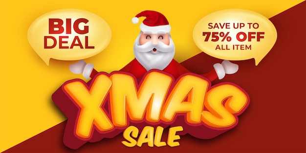 Christmas sale promotion greeting card with santa claus character