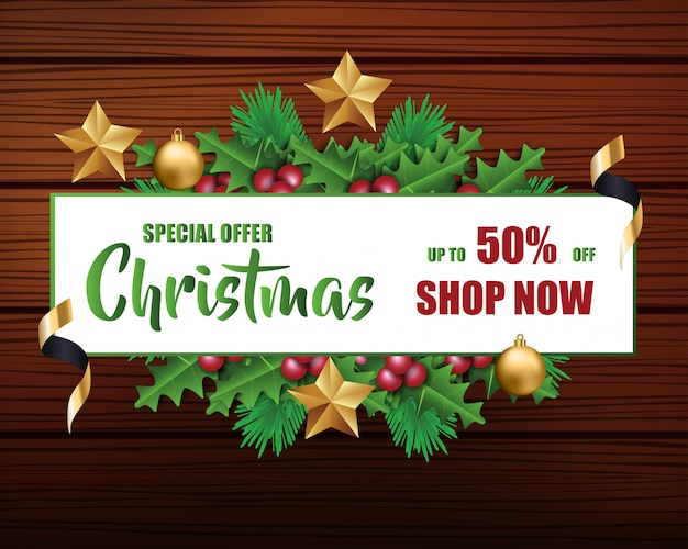 Christmas sale for promotion with a leaves and christmas decorations in wood background