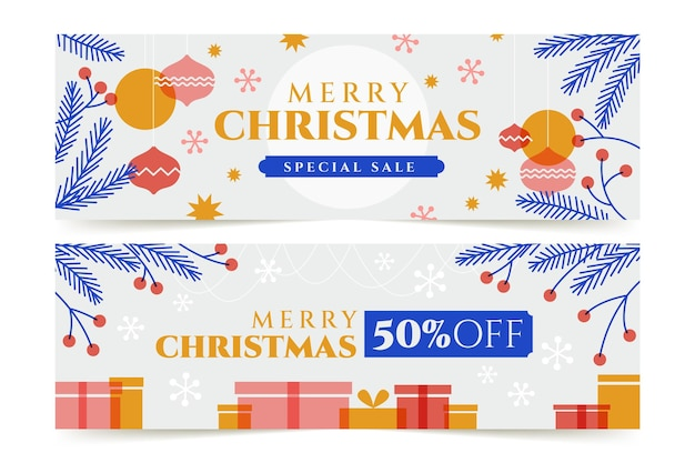 Christmas sale promotional banners