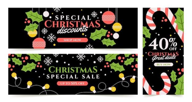 Рекламные баннеры рождественской распродажи
