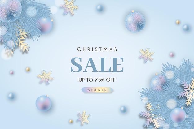Рождественская распродажа реалистичный баннер в пастельных тонах