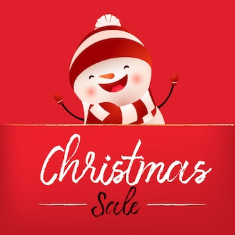 Christmas sale red banner design with laughing snowman
