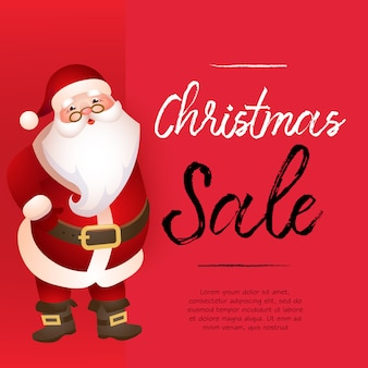 Christmas sale red banner design with santa claus and sample text