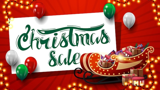 Christmas sale, red banner