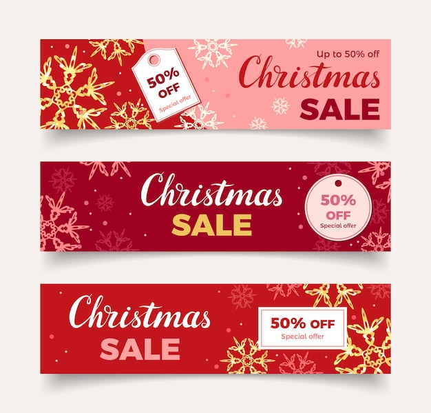 Christmas sale red banners set with golden snowflakes and lettering