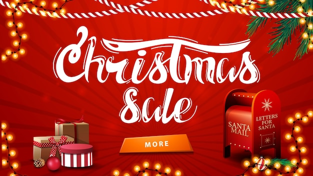 Christmas sale, red discount banner with garlands, christmas tree branches, button, presents and santa letterbox