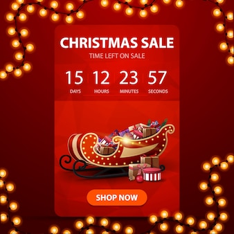 Christmas sale, red vertical banner with countdown timer