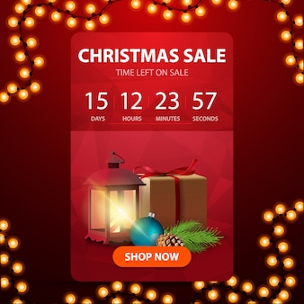 Christmas sale, red web banner with button, countdown timer to the end of discounts
