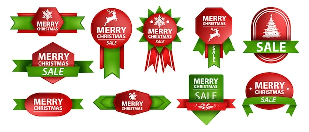Christmas sale ribbon set vector holiday red xmas shopping label design new year winter stickers