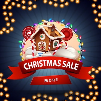 Christmas sale, round discount banner with christmas gingerbread house