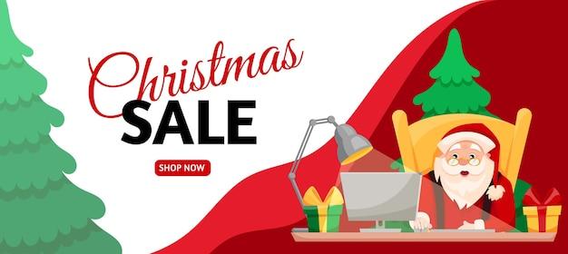 Рождественские продажи сезон баннер шаблон. мультяшный санта сидит, покупая подарки онлайн