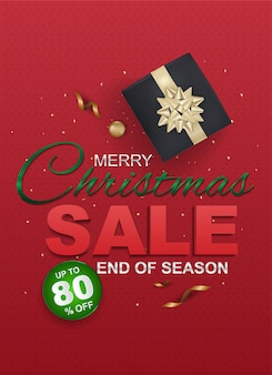 Christmas sale and seasonal discount templates, banner. big sale, clearance up to 80% off. sale banner template