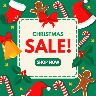 Christmas sale shop now in flat design
