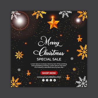 Рождественская распродажа в социальных сетях пост баннер или квадратный флаер