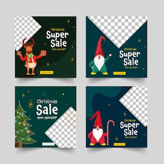 4つのオプションで40-50%の割引オファーを備えたクリスマスセールソーシャルメディアポストまたはテンプレートデザイン。