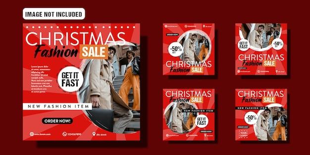 Christmas sale social media post template set