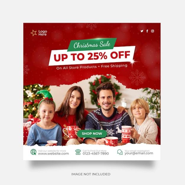 Christmas sale social media post web banner